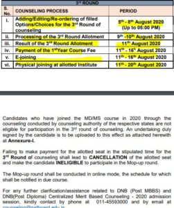 dnb 3rd round counselling schedule 2020