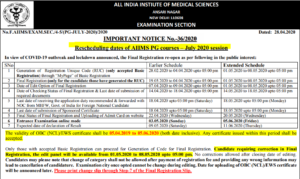 aiims pg july session revised schedule latest april 2020